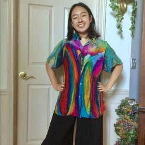 Trippy Colorful Rainbow Silk Button Down